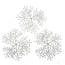 White Flocked Hanging Snowflakes - 3 x 23cm