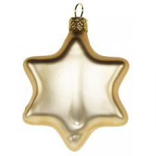 Krebs 4 X 7cm Gold Glass Star Shaped Christmas Tree Decorations.