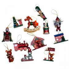 Set Of 12  Wooden Tree Decorations