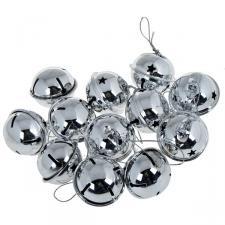 Silver Metal Jingle Bells - 12 X 40mm