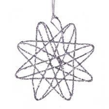 80mm Maze Wire Glitter Silver Star