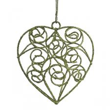 Gisela Graham Green Wire Filigree Heart Decoration - 8cm
