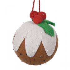 Gisela Graham Fabric Christmas Pudding Ball - 10cm