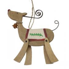 Gisela Graham Painted Wood Reindeer Decoration - 14cm