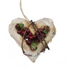 Gisela Graham Birchwood & Berry Hanging Heart Decoration - 10cm