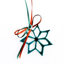 Green Handmade Ceramic Star Decoration - 6cm