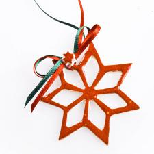 Red Handmade Ceramic Star Decoration - 6cm