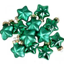 Emerald Green Glass Stars - 12 x 40mm