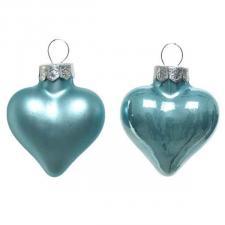 Arctic Blue Glass Hearts - 12 x 40mm