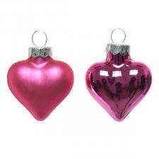 Bubblegum Pink Glass Hearts - 12 x 40mm