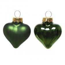Dark Green Glass Hearts - 12 x 40mm
