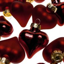 Dark Red Glass Hearts - 12 x 40mm