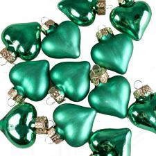 Emerald Green Glass Hearts - 12 x 40mm
