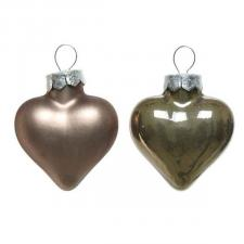 Pale Brown Glass Hearts - 12 x 40mm
