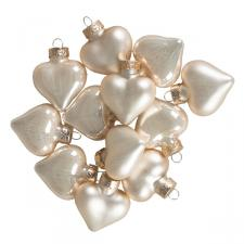 Pearl Glass Hearts - 12 x 40mm