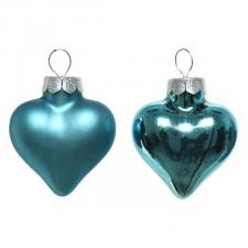 Turquoise Glass Hearts - 12 x 40mm