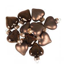 Truffle Brown Glass Hearts - 12 x 40mm
