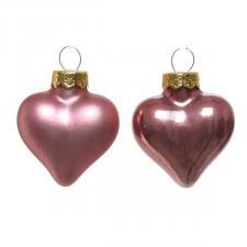 Velvet Pink Glass Hearts - 12 x 40mm