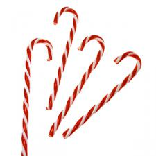 Red & White Plastic Hanging Candycanes - 4 X 15cm