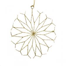 Gold Spiral Wire Snowflake Decoration - 15cm