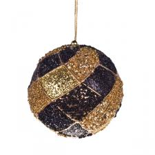 Black & Gold Decorative Harlequin Beaded Ball - 10cm