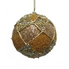 Platinum & Copper Decorative Harlequin Beaded Ball - 10cm