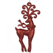 Red Glittered Standing Reindeer Decoration - 18cm