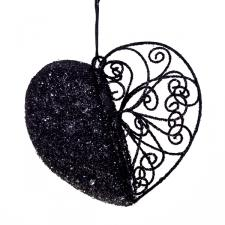 Black Filligree And Bead Heart Decoration - 11cm