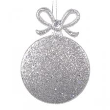 Platinum Round Gift Box Shape Decoration - 9cm