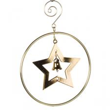 Gold Circle Decoration With Star & Bell - 10cm