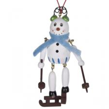 Wooden Dangly Leg Snowman Hanging Decoration With Blue Scarf - 10cm