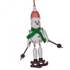 Wooden Dangly Leg Snowman Hanging Decoration With Green Scarf - 10cm