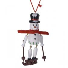 Wooden Dangly Leg Snowman Hanging Decoration With Red Scarf - 10cm