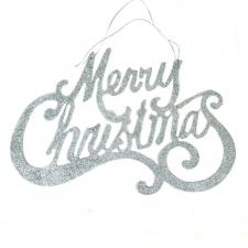 Silver Merry Christmas Hanging Decoration - 35cm