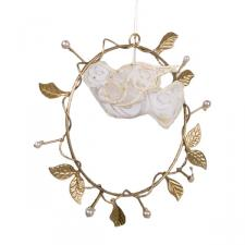 Gisela Graham Gold Hanging Wreath Decoration With White Mesh Dove - 8cm