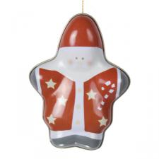 Gisela Graham Santa Tin Container Decoration - 11cm