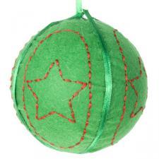 Gisela Graham Hanging Green Felt Ball - 8cm