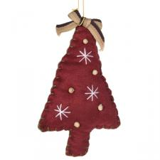 Gisela Graham Red Fabric Hanging Tree Decoration With Bow Detail - 13cm