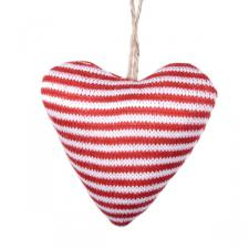 Gisela Graham Hanging Knitted Red And White Narrow Stripe Heart Decoration - 9cm