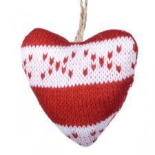 Gisela Graham Hanging Knitted Red Hearts Heart Decoration - 9cm
