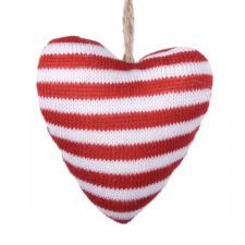 Gisela Graham Hanging Knitted Red And White Wide Stripe Heart Decoration - 9cm