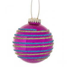 Two Stripe Hanging Pink Ball Decoration - 65mm