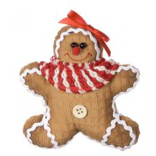 Gingerbread Character Decoration With Striped Scarf - 13cm