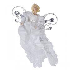 White & Silver Diamante & Organza Hanging Angel Decoration - 24cm