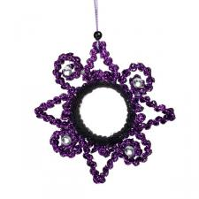 Purple & Black Flower Mirror Decoration - 12cm