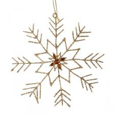 Gold Snowflake Hanging Decoration - 15cm X 16cm