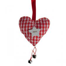 Red And White Gingham Hanging Heart With Star - 16cm