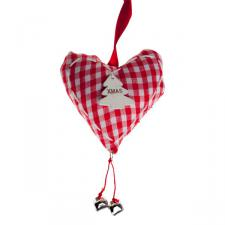 Red And White Gingham Hanging Heart With Tree - 16cm