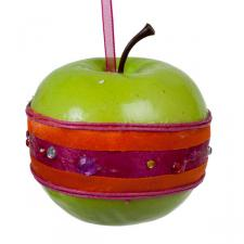 Green Apple Hanging Decoration With Stripes - 70mm