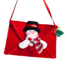 Gisela Graham Plush Snowman Envelope Bag Hanging Decoration